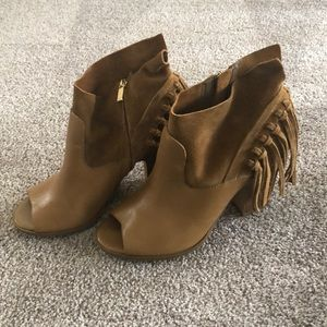 Marc Fisher leather suede fringe peep toe booties